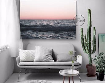 SUN SEA DUSK Waves Ocean - Art Print Poster Canvas - On Trend Scandi