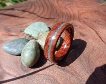 Wood ring, Stone Inlay Ring, Redwood Burl Ring with crushed ocean jasper stone Inlay, Wooden Band, Stone Jewelry, Redwood Ring, Wedding Ring