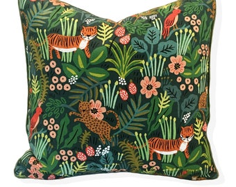 "Jungle Pillow Cover Only with Piping 18""x18"" 