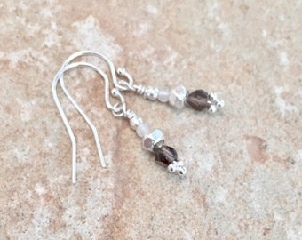 Gray drop earrings, smokey quartz earrings, jade drop earrings, sundance style earrings, Hill Tribe silver earrings sterling silver earrings