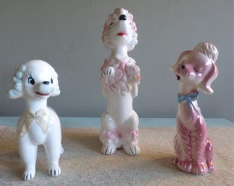1950s Pink Poodle Figurines Vintage Poodle Statue collection Kitchsy 1950s Decor