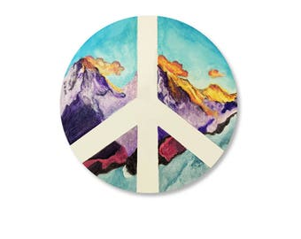 Mountain Laptop Stickers, Car Stickers, Car Decal, Car Decals, Vinyl Sticker, Peace Sign, Mountain Decal, Watercolor stickers Bumper Sticker