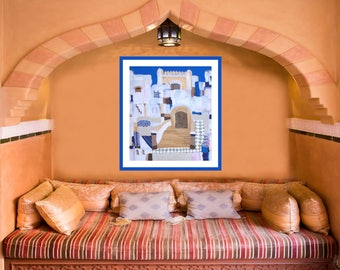 Canvas Giclée Painting, Africa Art, Print on Canvas, Modern Painting, Large Wall Art Print, Blue White, Cityscape Print, Art from Orient