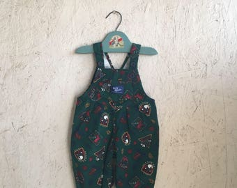 """Vintage Baby Clothes Evergreen """"Wild Animal"""" Corduroy Baby B'Gosh Overalls DEADSTOCK Size 6-9 Months"""