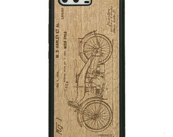 Huawei P10 - Harley Patent -  Wood Case - Real Wooden Case - Black Bumper