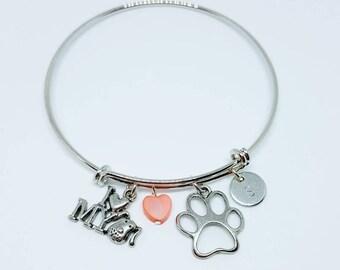 Custom Personalized Initial Pet Bangle, Dog Charm Bracelet, Paw Print Bangle, Paw Bracelet, Dog Lover, Valentine's Gift for Her, Dog Gift