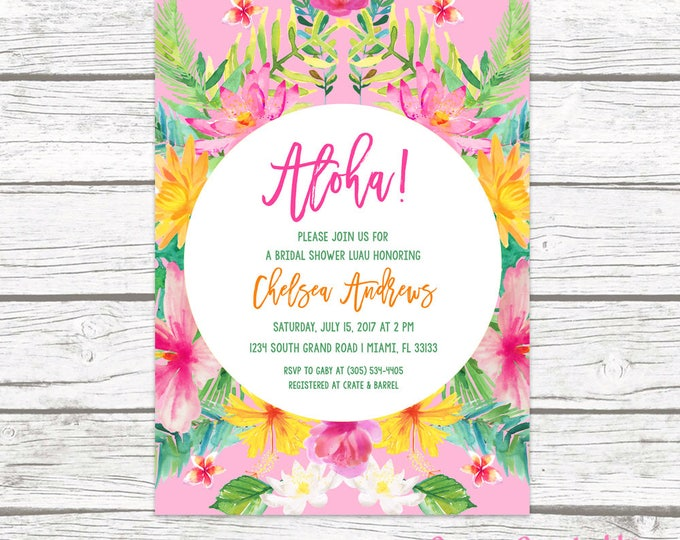 Tropical Bridal Shower Invitation, Luau Bridal Shower Invitation, Aloha Bridal Shower Invite, Tropical Wedding, Hawaiian Printable Invite