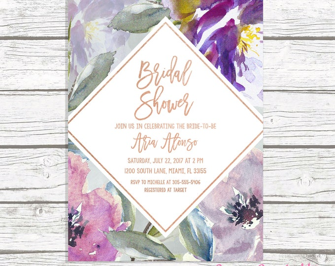 Purple Bridal Shower Invitation, Rustic Fall Bridal Shower Invitation, Bridal Shower Brunch Invitation, Rose Gold Bridal Shower Invite
