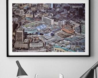 Birmingham Print, Birmingham UK, Birmingham Skyline, City Wall Art, Aerial Photography, Architecture Print, Architecture photography, Decor