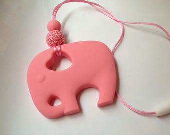 140 - Pink elephant and wood bead
