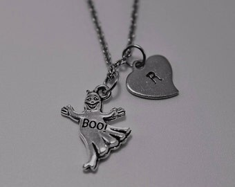Ghost Necklace ,Silver Ghost Charm Necklace , Initial Necklace, Personalized Necklace,