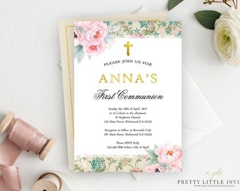 First Communion Invitation, Girl First Communion Invitation, 1st Communion, Baptism Invitation, First Holy Communion Invitation, Printable