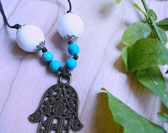 Hamsa necklace with stones (hand of Fatima)