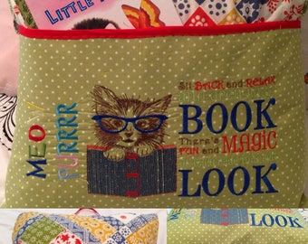 Pocket pillow kitty cat reading pillow vintage quilt childs reading pillow bias binding handle book magic quote green polka dot orange zip