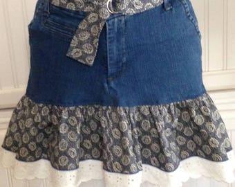 Women's denim skirt, cotton ruffled denim skirt, denim with eyelet lace  trim skirt, repurposed denim skirt, Navy blue print, blue denim