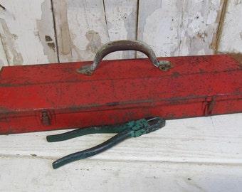 Vintage Red Metal Tool Box, Industrial Decor