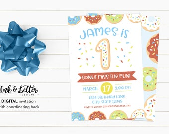 Donut Birthday Party Invitations - Doughnut Party Invites - Digital Birthday Invitations for Boy - First Birthday Invitations - Donut Party
