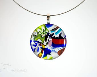 Murano glass pendant, Venetian glass necklace, Italian jewelry Murano glass necklace Made in Italy Murano glass jewelry - arlequin