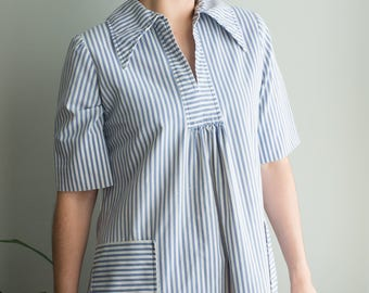 Blue and White Striped Dress / 70's 80's House Dress / Women's Vintage Clothing