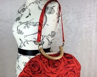 Red Red Roses Betty frame handbag fabric bag purse shoulder bag handmade in England