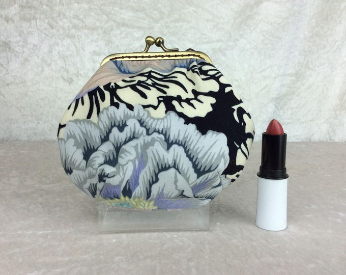Peony Brocade Amy frame coin purse wallet hand stitched Kaffe Fassett Philip Jacobs handmade in England