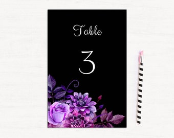 Modern wedding table numbers Black wedding table decor Printable table numbers download Purple wedding decor Table numbers for wedding 1W38