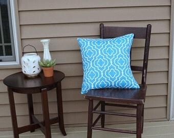 "Aqua Tile Print Pillow Cover, 18"" square, Premier Print Geometric Print, Envelope Closure, Instant Room Makeover Look, Blue Pillow Cover"