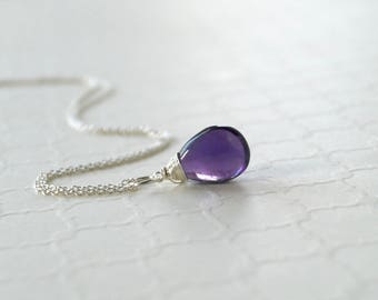 Natural Amethyst Pendant - Sterling Silver Wire Wrapped Dangle - Genuine Purple Amethyst Gemstone - Necklace Jewelry - February Birthstone