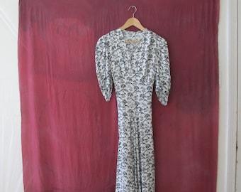 Vintage Black and White Print 40's Dress