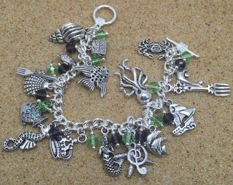 Fully loaded, The Little Mermaid themed charm bracelet with little nautical charms