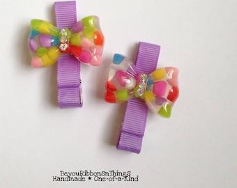 Cool Bubble Bows | Hair Clips for Girls | Toddler Barrette | Kids Hair Accessories | Lavender Grosgrain Ribbon | No Slip Grip