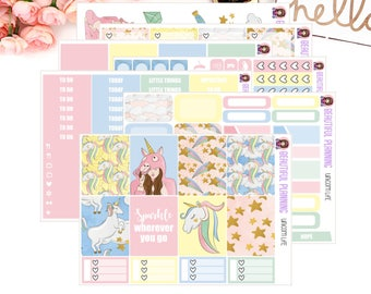 Unicorn Life Vertical Weekly Kit - Planner Stickers, for use in ERIN CONDREN LIFEPLANNER ™, Happy Planner, Vertical Inserts.
