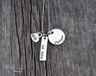 Hand stamped est. bar necklace with heart charm and last name disc / family / love / personalized