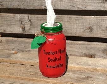 Back to School/ Apple Mason Jar/ Tissue Mason Jar/ Classroom Decor'/ Teacher Christmas/ Teacher Mason Jar/ Teachers Plant Seeds