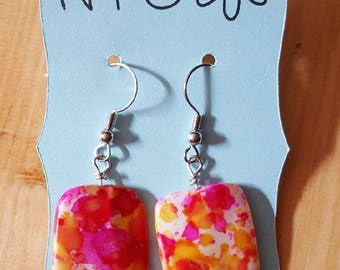 Hand-Crafted Dangle Earring with Pink/Orange specked Glass Bead- Nickel free