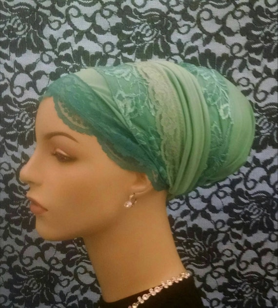 Exquisite mint dressy sinar tichel, tichels, chemo scarves, head scarves, hair snoods