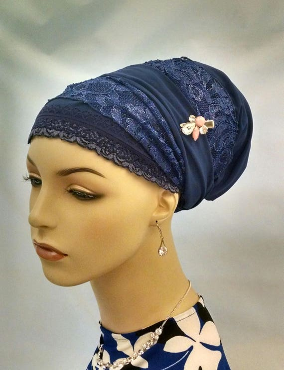 Exquisite cobalt blue sinar tichel, tichels, chemo scarves, Jewish head coverings, hair snoods