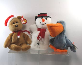 Vintage Christmas Beanie Babies-Set With Tags