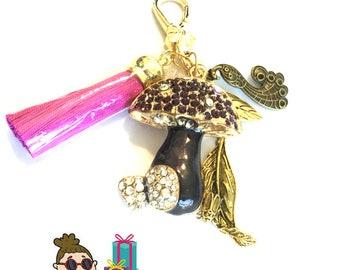 Black Rhinestone Mushroom Bag Dangle, Tassel Handbag Dangle, Versatile Key Ring, Friendship Gift, Best Friend Gift,Bag Dangles and Key Rings