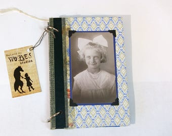 Vintage Book Journal Scrapbook Girl with Bow