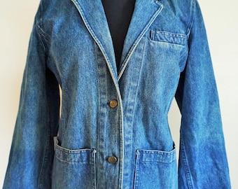 Vintage Womens Denim Jacket / Coat / Long / Blazer / Jean / Dark / Blue / Outwear / 42 / Large / L / Made in Italy