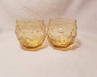 AMBER MILANO TUMBLER Desert Gold On the Rocks Anchor Hocking Wrinkle Crinkle Old Fashioned Unique set of 2 Juice Vintage Retro Mid Century