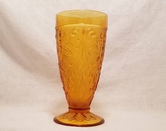 AMBER INDIANA GLASS Footed Ice Tea Tumbler Tiara Sandwich Vintage Retro