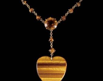 Antique Victorian Tigers Eye Heart Pendant Citrine Necklace Circa 1900