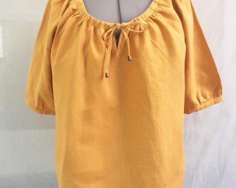 Yellow linen blouse - Saffron yellow linen blouse - sunflower yellow linen tunic - washed linen blouse - Handmade - Made in France