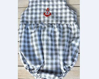Baby clothes,  Baby boy romper, baby playsuit, infant Babywear, Baby Grey  and white Check Linen Romper Size 3-6 mths Ready to ship