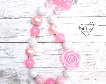 Pink and White Flower Chunky Necklace, Pink and White Bubblegum Necklace, Pink and White, Flower