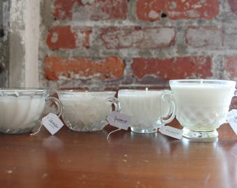 Custom Upcycled Glass Scented Teacup Candle