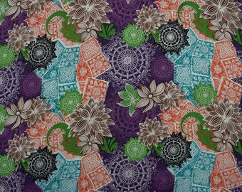 "Multicolor Fabric, Floral Print Fabric, Dress Material, Sewing Fabric, Quilt Fabric, 42"" Inch Cotton Fabric By The Yard ZBC7883D"