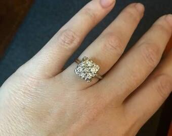 SALE! Estate Vintage 14K White Gold Square 7 stone  Diamond Cluster Ring size 6 1/4 Approximately 3/4 Carat TW